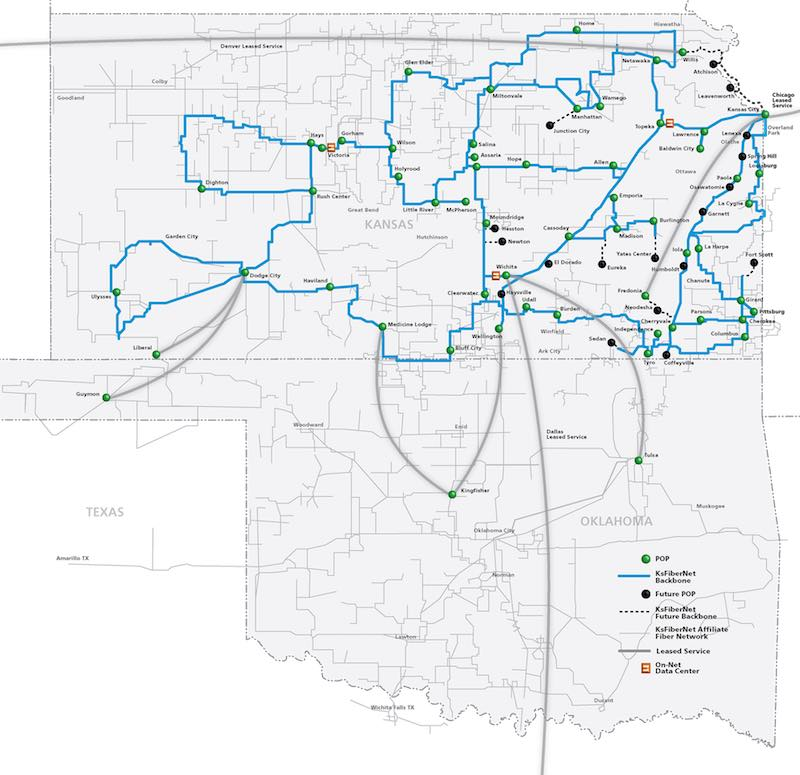 kansas fiber network provides fiber backbone service for most of the state linking with leased service in oklahoma colorado missouri and texas